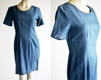 Forenza Denim 90's Minimalistic Short Sleeve Knee Length Vintage Dress