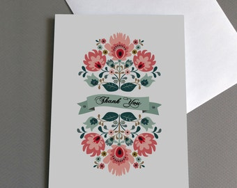 Vintage Floral Pattern Thank You Card