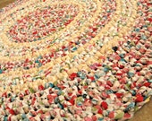 """Les Fruits. Eco crochet round rag rug. Cottage, country, folk, colorful, red, turquoise, lime, multi, 26""""."""