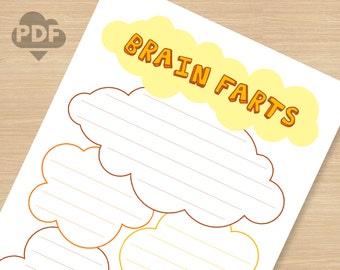 Brain Farts printable PDF file (instant download) basic to do list memo pad