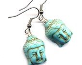 Buddha Earrings, Magnesite Turquoise Buddha Charms Earrings, Yoga Zen Earrings, Surgical Steel Earrings, Handmade Jewelry by AnnaArt72
