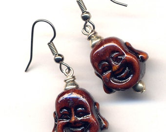 Happy Buddha Earrings, Buddha Earrings, Buddhist Earrings, Smiling Buddha Earrings, LAST PAIR,Handmade Jewelry by AnnaArt72