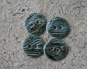 Set of Four Green Ceramic Buttons