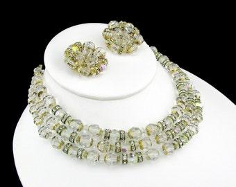 Necklace Crystal Beaded Rhinestone Three Strand