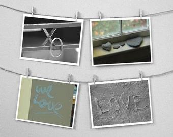 Love  XO Hugs Kisses Valentine Marry- Set of FOUR  4 x 6 photographs - Save 25%