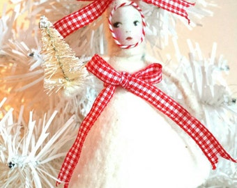 SALE Spun Cotton Ornament Gingham Girl