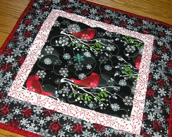 Quilted Table Runner / Topper,  Modern Cardinal Topper, in Red and Black 16 1/2 x 16 1/2 inches