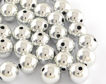 "Silver ""Christmas Ball"" Beads - 14mm - set of 12 - #ACR218"