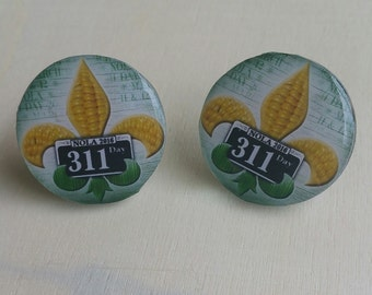 311 Day 2016NOLA Corn Fleur de Lis Post Earrings