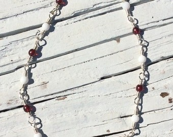 Maroon and White Glass Bead Wire Wrapped Chain Link Anklet - Ankle Bracelet