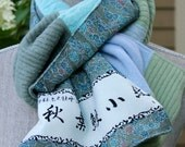 Cashmere and vintage silk scarf.  Soft blues and greens.  Silk is from vintage kimono stock