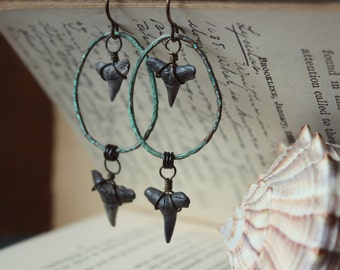 Hefring. Rustic Boho Beach Natural Fossilized Shark Tooth Antiqued Brass and Verdigris Ring Earrings.