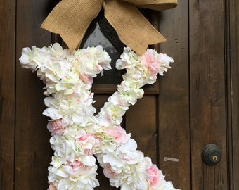 18 Inch Floral Monogram Letter Initial Wedding Door Wreath