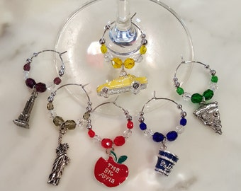 New York  Wine Charms with Pouch