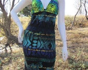 Hand Painted funky safari t shirt bikini dress
