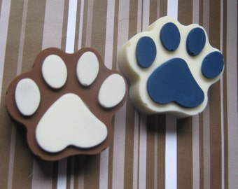 One dozen solid chocolate paw print candy pieces party favors