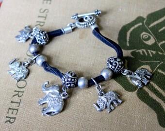 Vintage Bracelet Elephant Charm Silver Tone
