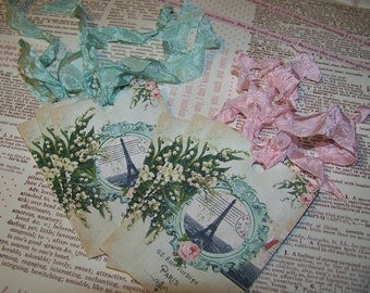 Paris Tags Romantic Tags Vintage Shabby Cottage Chic Style - Set of 6 or 9