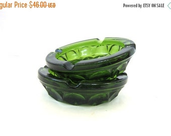 1970's ashtrays Pair two Retro Pair Heavy Green Glass Mid Century Modern Smoking decor clear cut glass FLoral 1960s Ranch Home