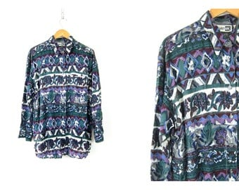 Green Floral Print Graphic Shirt 90s Rayon Button Up Vintage purple Long Sleeve Blouse Retro baggy Shirt Womens size large