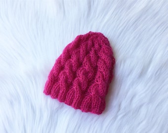 Knit baby beanie,baby hat, pink knit hat, newborn baby hat, baby beanie, baby hat, hot pink baby beanie, ready to send.