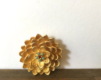 Mid Century Flower Brooch~ Floral Pin~ Hollywood regency era statement piece
