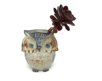 Vintage Pottery Owl Vase ~ Vase Planter Pencil Holder Herb Pot