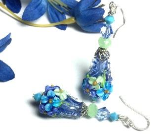 Blue Cone Earrings Glass Earrings Lampwork Earrings Handmade Earrings Flower Earrings Floral Earrings Artisan Earrings Beaded Earrings