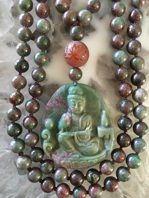 Kashgar Garnet and Indian Bloodstone Mala/Prayer Beads