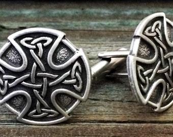 Celtic Cross Pewter Cufflinks 7/8 Inch (23 mm)