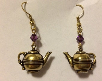 English tea kettle dangle earrings with Austrian crystals hand crafted