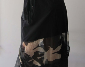 BASIA DESIGNS Hand Screened Silk Bird  skirt - Free U.S. Shipping