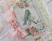Nature Travel Notebook, Vintage Bird Journal Mixed Media Lace Book, French Journal,  Notebook, Shabby Art Book,