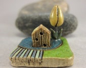 RESERVED for elizabethjones RESERVEDMyLand -  Dream BIG ! - Collectible 3x3 cm or 1.2x1.2 in. puzzle in stoneware