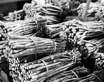 Food Photography, Asparagus Photo, Kitchen Decor, Farmhouse Decor, Fine Art Photograph, Farmers Market, Rustic Decor, Veggies, Black, White