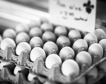 Farmhouse Decor // Kitchen Wall Decor // Food Photography // Egg Photo // Fine Art Photograph // Black and White Photography // Rustic Decor