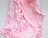 Pink Damask Minky Blanket for a Baby Girl, Can Be Personalized