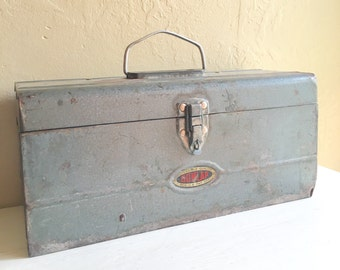 Silver Vintage Dunlap Tool Chest Metal Toolbox Tackle Box