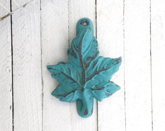 Cast Iron Leaf Door Knocker, Spring Home Decor, Shabby and Distressed, New Home Gift