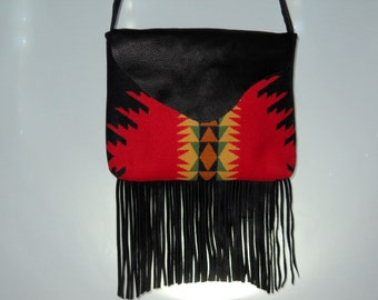 Fringed Messenger Purse Crossbody Wool & Leather Black and Red Southwestern Tribal Handcrafted Using Fabric from Pendleton Woolen Mill