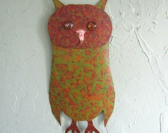 Metal Owl Wall Art Sculpture Recycled Metal Barn Owl Wall Decor Green Rust Orange Gold Indoor Outdoor Animal Wall Art 7 x 15