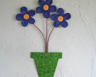 Metal art wall sculpture flower pot recycled metal home decor purple blue lavender lime green bathroom kitchen art 9 x 14