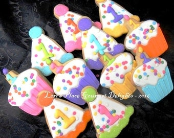 Confetti Birthday Cookies - Cupcake Cookies - Party Hat Cookies  -12 Cookies