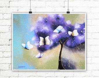 Inspirational Wall Art, Butterfly Art Tree Print, Lavender Art Tree of Life Room Decor, Girls Wall Art Woodland Decor