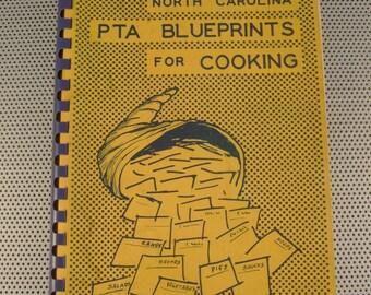 """Vintage 1956 North Carolina """"PTA Blueprints for Cooking"""" Paperback Cookbook"""