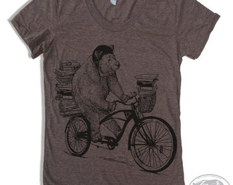 Womens BOOK BEAR T Shirt american apparel S M L XL (16 Colors Available)