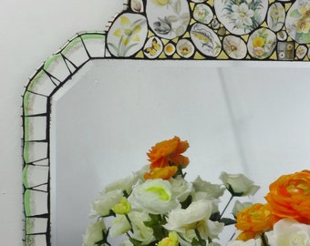 Unique Wall Mirror,  Yellow Mirror, Mosaic Mirror