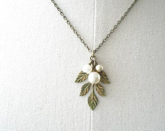 Leaf Necklace. Woodland Necklace. Patina Brass Leaves & Shabby Vintage Bohemian Glass Champagne Pearls. Eco Friendly. PreciousPastimes.