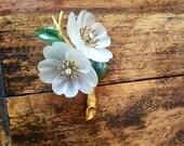 Diamond Flower Brooch - carved rock crystal brooch - carved jade - 18k gold - Valentine's Day gift - 1940s vintage brooch - wedding brooch