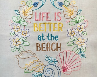 Life is Better at the Beach - wreath - embroidered quilt block - ready to sew or frame 10 inch square